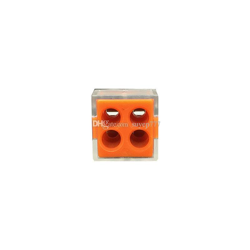 (100 pezzi / lotto) 773-104 Tipo PCT-104 Connettore universale compatto a 4 fili 24A Morsetto conduttore a 4 pin 4 vie riutilizzabile Spinta empalm
