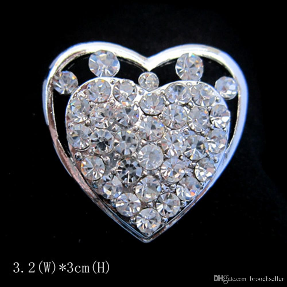 Cor prata claro strass cristal pequeno coração pin broche