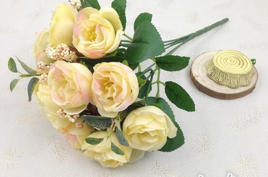 Simulação flores 10 flores de camelo amor chá buds chá flor de plástico flor de decoração para casa