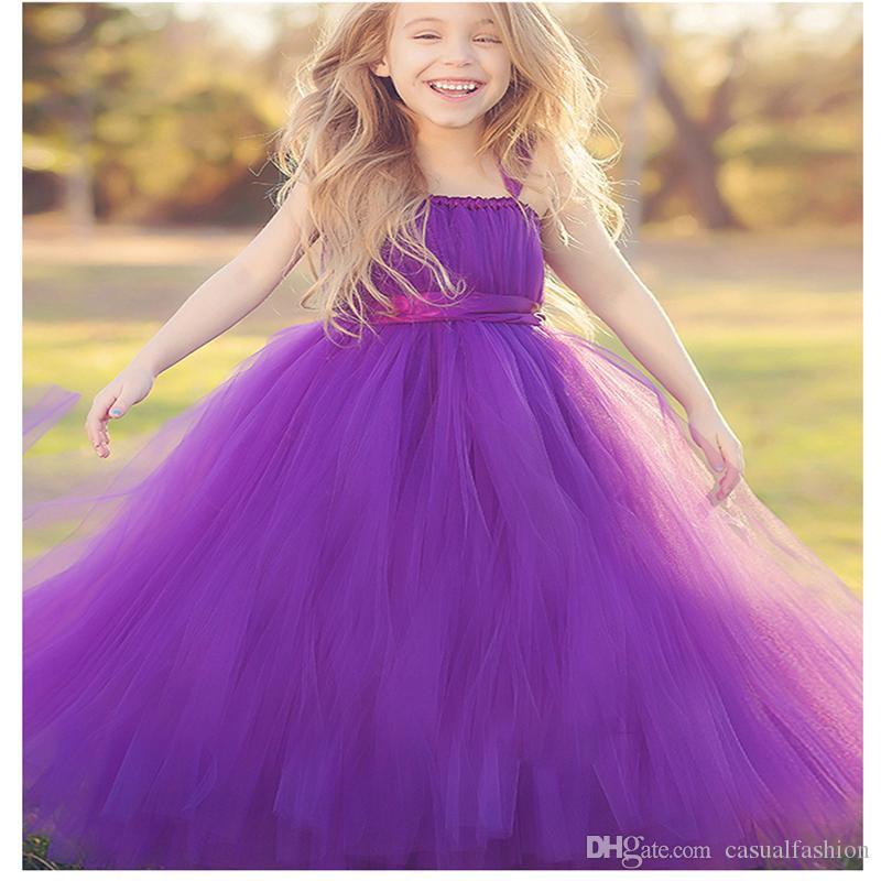 Blumenmädchenkleider Schöne Mädchen Festzug Lange Puff Kleider Juwel Brautkleider Für Jugendliche Formale Kommunion Mit Hoher Qualität