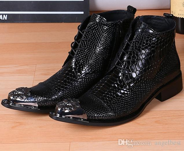 Großhandel Metall Nieten Spitzschuh Schwarz Herren Stiefel Schlange Muster Echtem Leder Stiefeletten Arbeit Busines Männer Kleid Schuhe Punk
