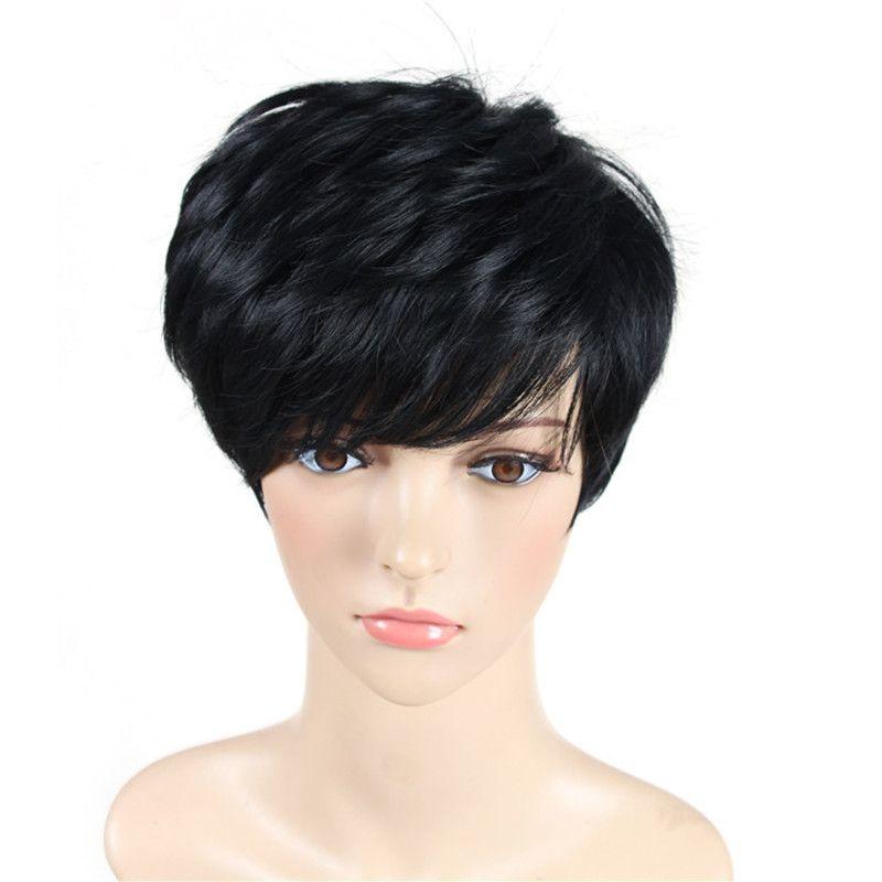 Perucas sintéticas da fibra de alta temperatura das perucas retas pretas perversas das mulheres para a senhora envelhecida média