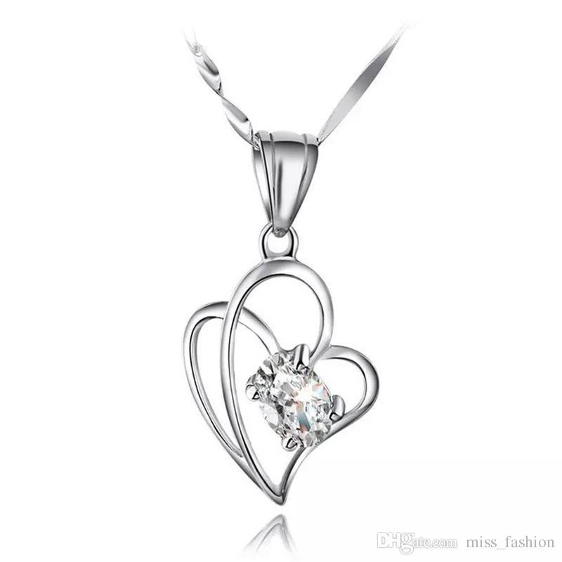 925 Sterling zilveren items Sieraden Hanger Verklaring Kettingen Vintage Bruiloft Diamante Dubbele Kruis Hartvormige Mode