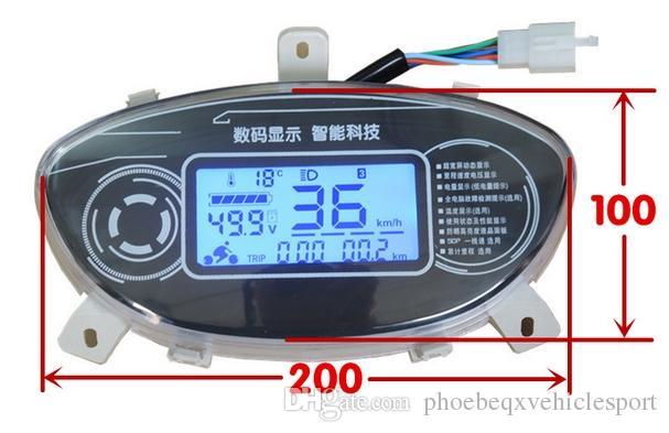12-110 v LCD ekran için hız göstergesi evrensel enstrüman elektrikli scooter motosiklet ATV voltaj pil seviyesi göstergesi odmeter