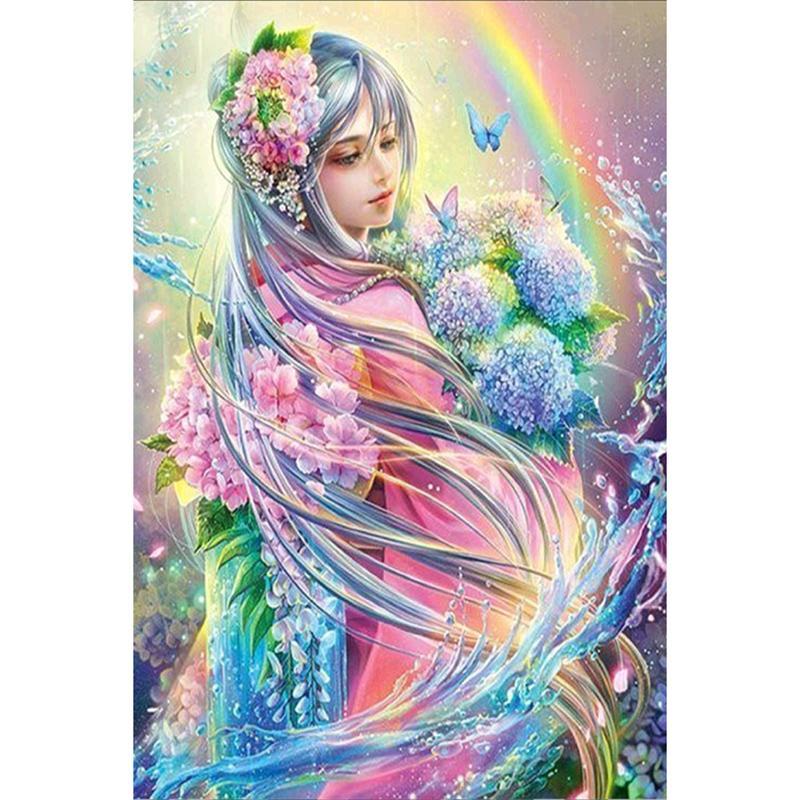 فتاة جميلة الحفر الكامل diy فسيفساء الإبرة الماس اللوحة التطريز عبر الابره الحرفية كيت جدار المنزل شنقا ديكور