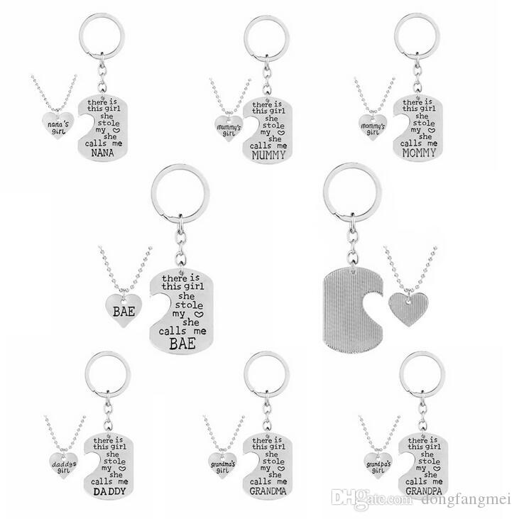 Electroplated Colors Mother 's Day Alloy Mommy & daddy Love Necklace Family Series Pendant WFN431 (with chain) mix order 20 1set=2 pieces
