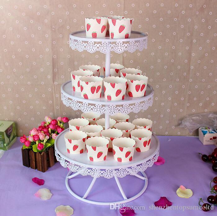 Soportes de pastel de bodas de color blanco Placas de la magdalena para la fiesta en casa Pastel de hornear Cafetería Herramientas de exhibición Bandeja de postres