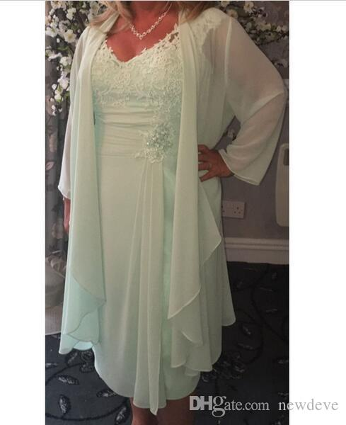 Mint Green Plus Size Mother Of The Bride Dress Knee Length Wedding Guest  Gowns Two Pieces New Formal Dress Plus Sizes Mother Of The Bride Dresses ...