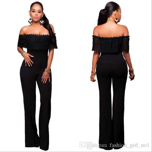 Hot Rompers for women Sexy women Lace Jumpsuits Elegant Off Shouder Bodysuit Outfits Long Pants Wide-leg Trousers