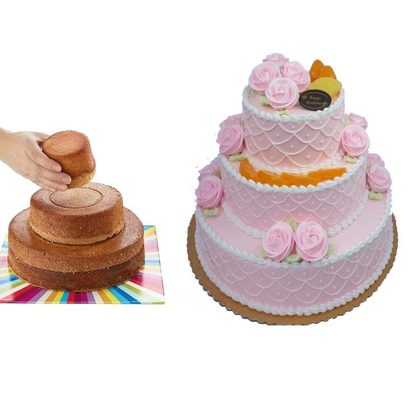 حزب سيليكون 3 قطعة / المجموعة أطباق الخبز المقالي 3 طبقات جولة كعكة عموم المنزل خبز كعكة العفن خبز القالب 8 6 3 بوصة
