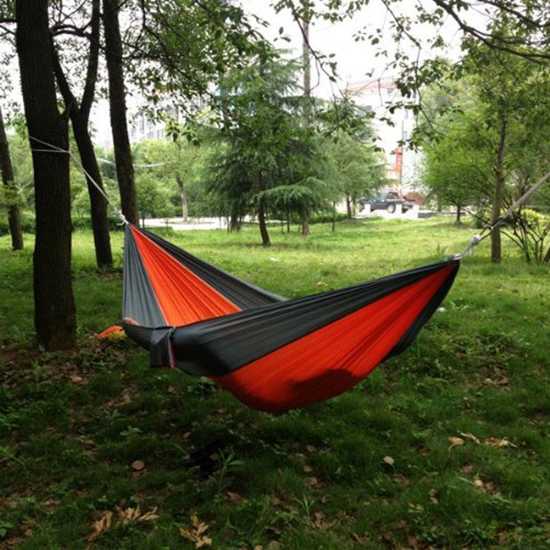 Atacado-portátil ao ar livre viajar Camping Parachute Nylon Tecido Hammock para duas pessoas 8 cores -39