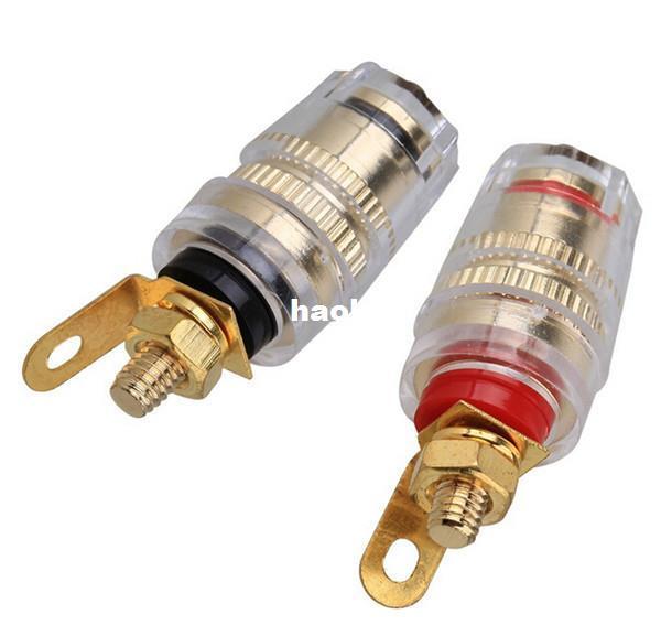 100PCS/Lot High Quality 4mm Thread Medium Amplifier Speaker Spade Terminal Binding Post Banana Plug Socket Connector 32MM