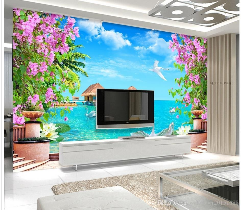 Swan Lake Seascape Tv Wall Background Mural 3d Wallpaper 3d Wall Papers For Tv Backdrop Photo Wallpaper Image Photography Desktop Wallpaper From Wallpaper20151688 5 74 Dhgate Com