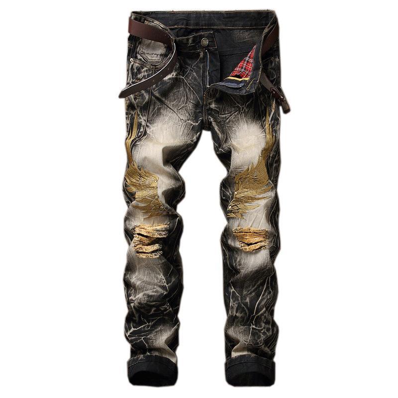 Al por mayor-2017 Slim fit recta más los pantalones vaqueros de los hombres slim fit ala águila bordada motorista pantalones de mezclilla masculina rap ocasional agujero rasgado jeans punk