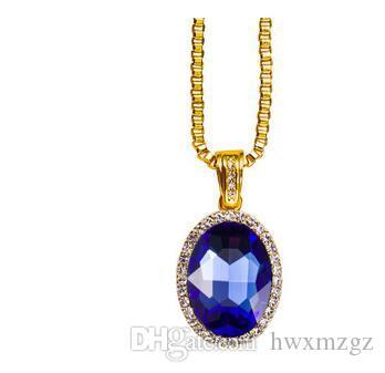 Collar de Hip Hop chapado en oro circular de agua de rubí Diamante colgante lateral cadena de caja azul rojo