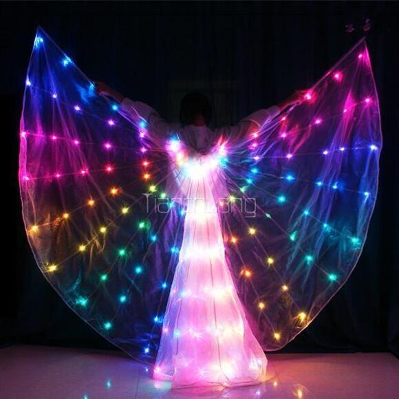 Светодиодные плащ полноцветные бусины пользовательские танец светодиодные бабочка танец крылья новый