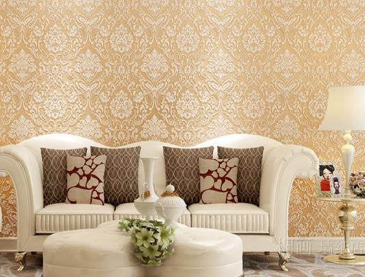 Very Warm European Style Paper 3d Embossed Non Woven Wallpaper Living Room Background Wallpaper Damascus Sprinkle Gold Wallpaper Canada 2019 From