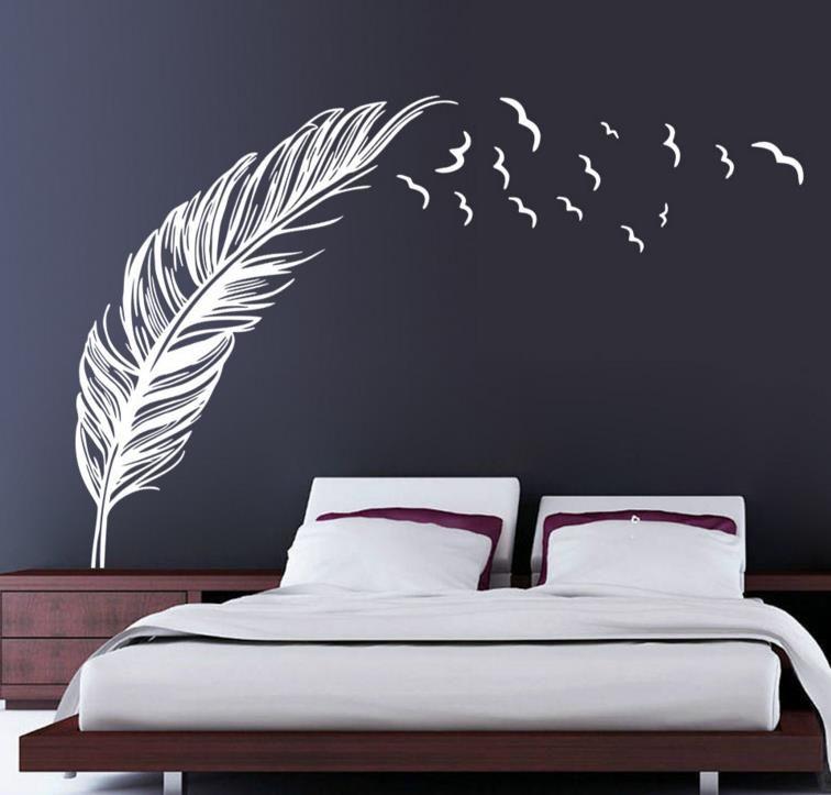 """Kuşlar Uçan Tüy Duvar Çıkartmaları Çıkarılabilir Yatak Odası Ev Çıkartması Duvar Sanatı Dekor Düğün Arka Plan Süslemeleri 47 """"x71"""""""
