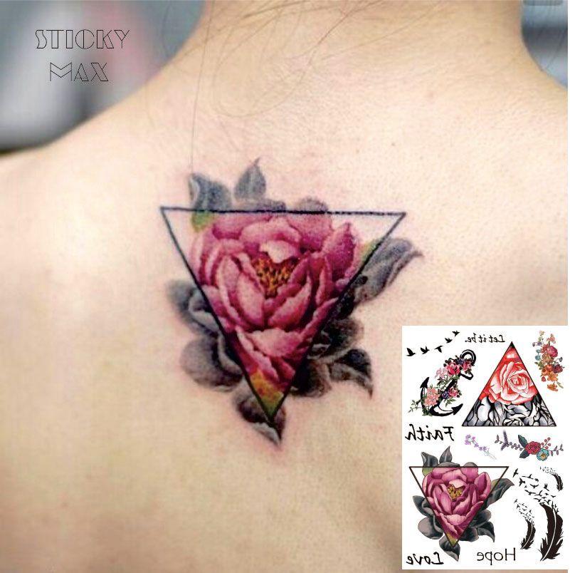 W01 треугольник роза на задней водонепроницаемой татуировке с птичьего перо, образец якоря