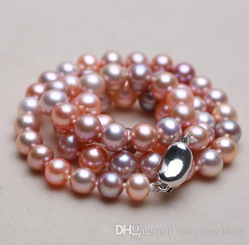 Commercio all'ingrosso classico 7-8mm rotondo mare del sud rosa viola colore misto collana di perle 17 pollici in argento 925 chiusura