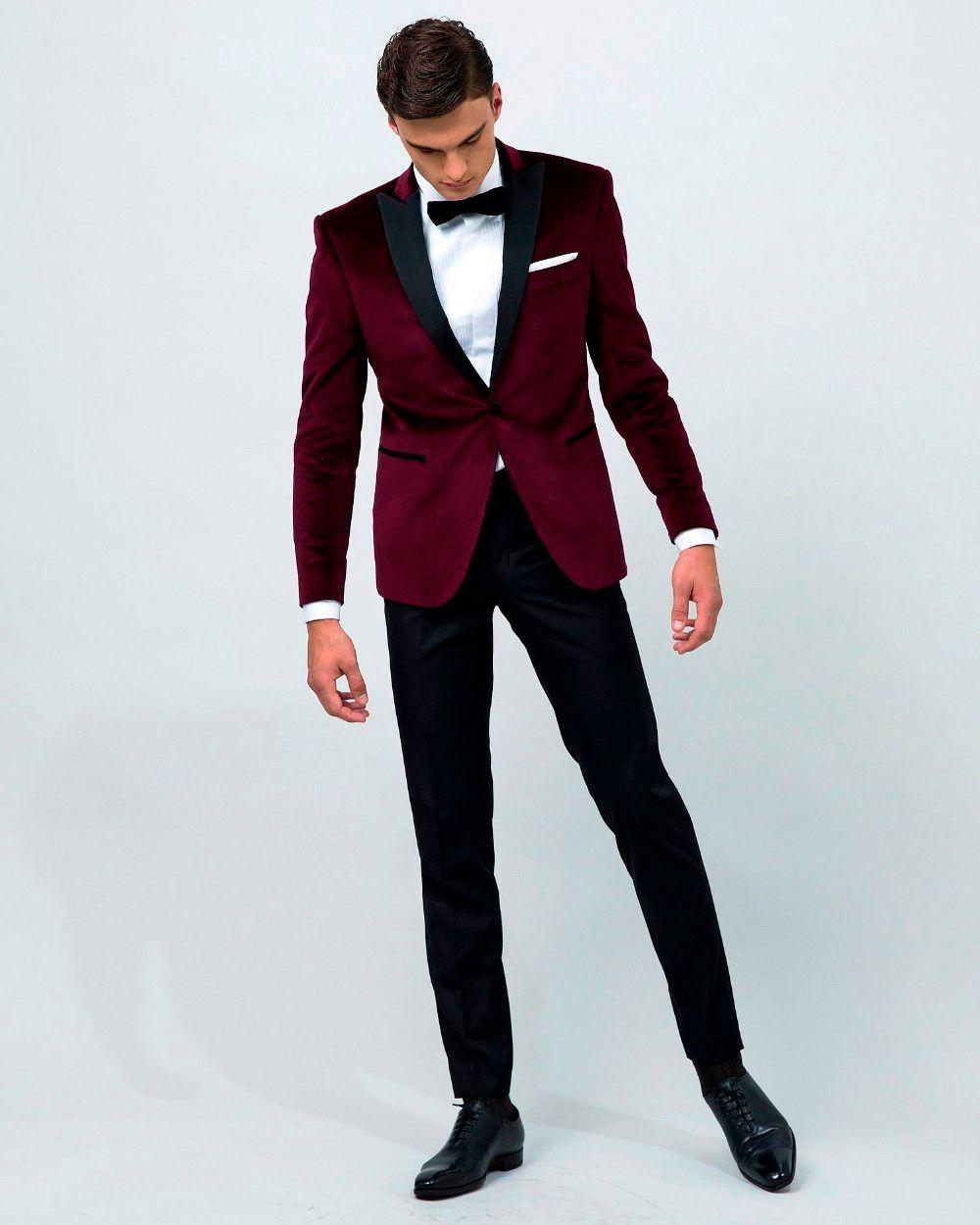 Airtailors vintage Kadife Şarap Kırmızı Tepe Yaka Smokin / erkekler için düğün Suit / Damat özel giyim giymek (ceket + pantolon + yay)
