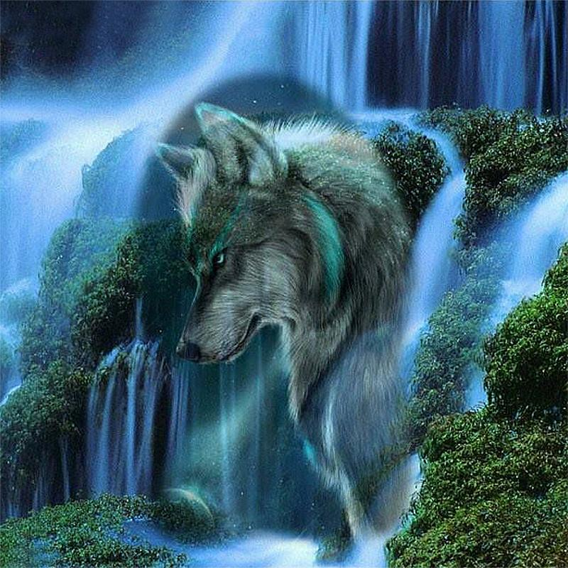 DIY Diamond Painting Embroidery 5D Wolf Waterfall Pattern Cross Stitch Crystal Square Unfinish Home Bedroom Wall Art Decor Craft Gift