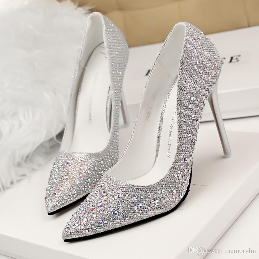 2018 sneakers buy best brand new Women Silver Heels Rhinestone Wedding Shoes Sexy Heels Pointed Toe High  Heels Dress Shoes Pumps Pink Party Shoes For Women Madan Vegan Shoes Cheap  ...