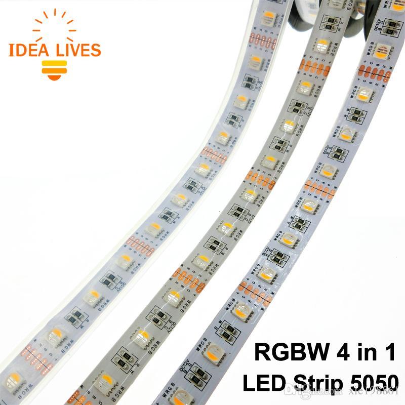 4 in 1 RGBW LED Streifen 5050 DC12V flexibles Licht RGB + Weiß / RGB + warmes Weiß 4 Farbe in 1 LED Chip 60 LED / m 5m / lot.
