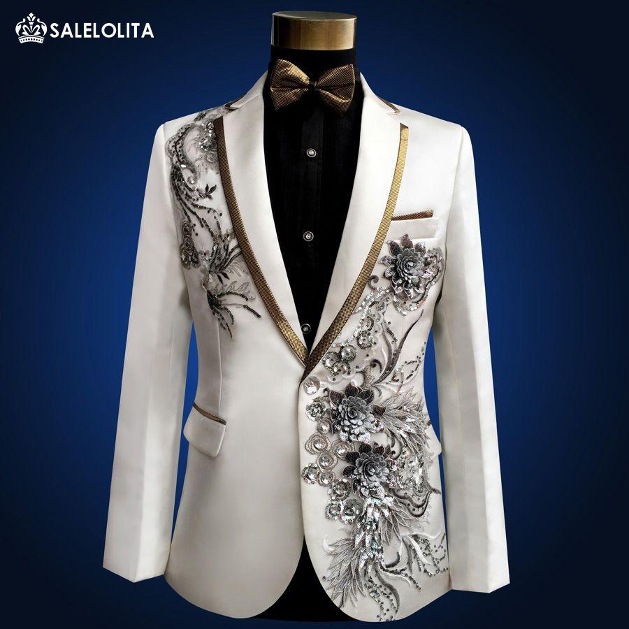 Groß-Plus Size hochwertige Vintage Medieval White bestickt mit Diamanten Bühne Leistung Sänger Anzug Blazer Kostüme S-3XL