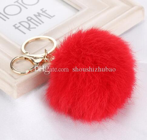 Lovely fur explosion gold metal buckle 8cm Rabbit Fur Ball Pendant Fashion Bag Keychain car ornaments(15 colors)