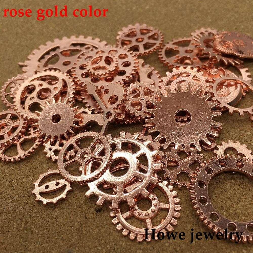 Mezclado 100 g steampunk engranajes y dientes reloj manos encanto oro rosa Fit pulseras collar DIY fabricación de joyas de metal