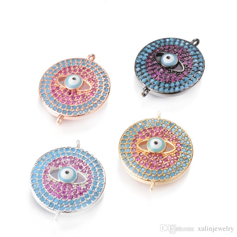 Fashion Turkish Style Micro Pave Turquoise and CZ Evil Eye Connector Beads Fit Bracelet Necklace Making 4Color, ICSP137, Size22.5*18mm