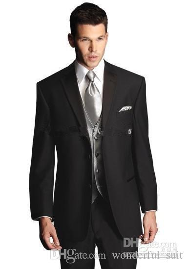 최고 품질 두 버튼 블랙 새로운 노치 옷깃 신랑 턱시도 / 웨딩 남자 정장 신랑 정장 (자켓 + 바지 + 타이 + 조끼) KO : 11