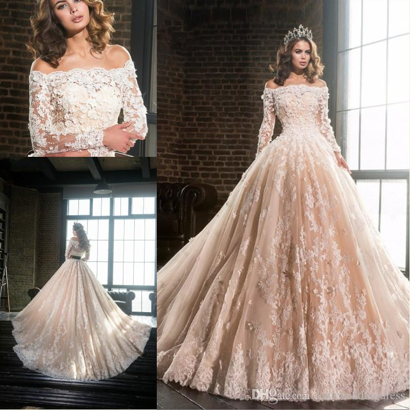 Champagne A-Line Wedding Dresses Bateau Long Sleeves With Lace Applique Wedding Gowns Tiered Ruffles Custom Made Bridal Dresses Long Train