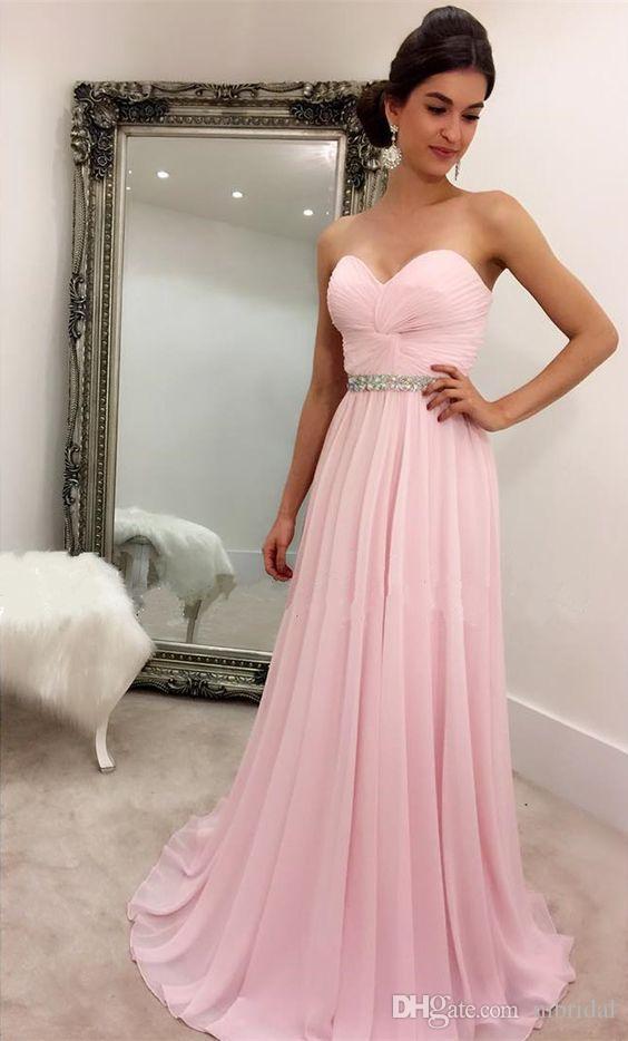 Modest Pink Prom Dresses 2017 New A Line Sleeveless Crystal Peplum ...