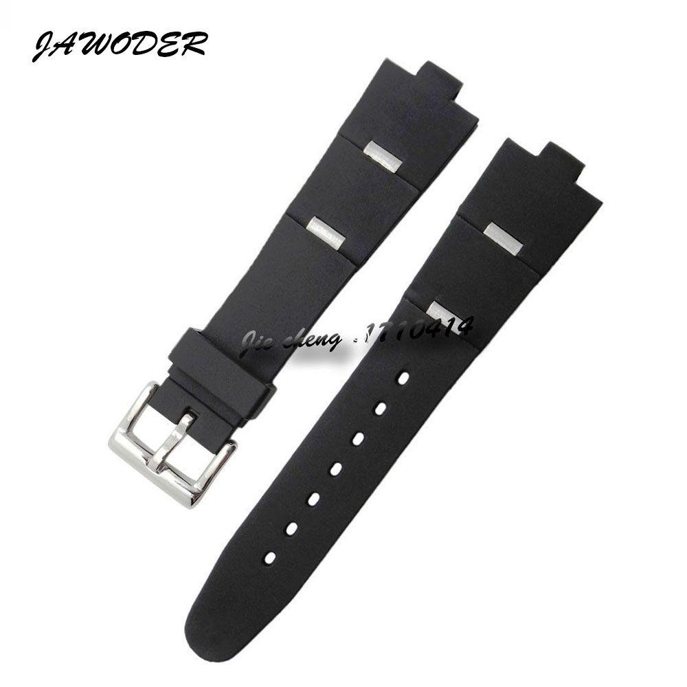 Jawewer pulseira 22 24mm x 8mm das mulheres dos homens de mergulho preto de borracha de silicone relógio de banda de aço inoxidável pin fivela de prata para diagono
