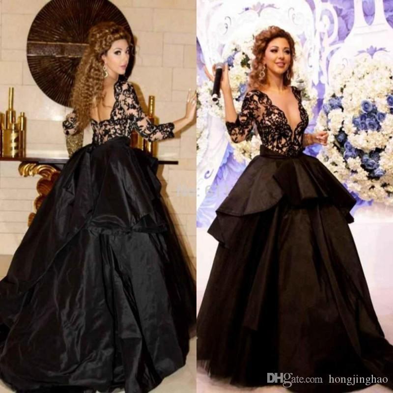 긴 소매 검은 공 가운 이브닝 드레스 국자 목 절반 소매 레이스 로브 드 Soiree 정식 파티 파티 드레스
