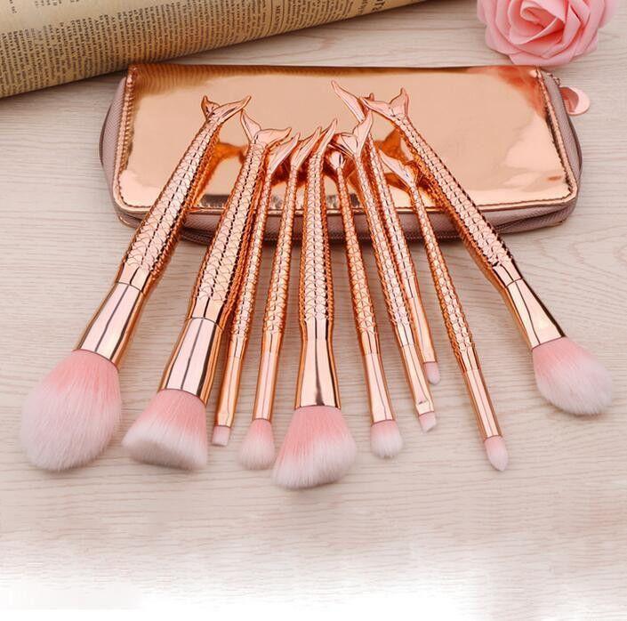 Hot 10Pcs Makeup Brushes Set Mermaid Glitter Diamond Pink Cosmetics Blending Powder Eyeshadow Foundation Brushes Set