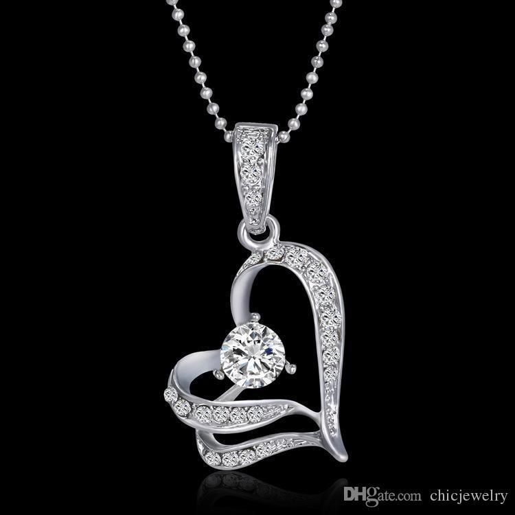 Mode Anhänger Halsketten Aussage Frauen Schmuck Party Ketten Swarovski Kristall Silber Liebe Herz Blätter Anhänger Kette für Hochzeit Braut