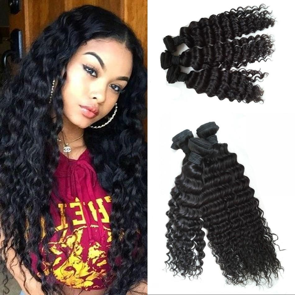Top Quality Indian Virgin Hair 3 Bundles Deep Wave Hair Extensions Wefts 8-30 inch Fast Shipping FDSHINE HAIR