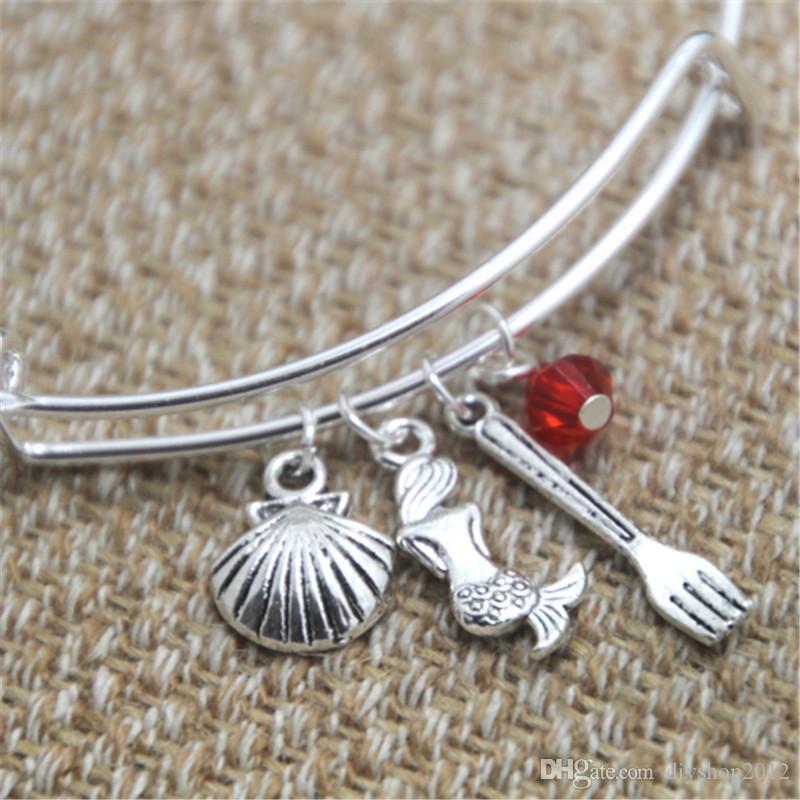 12pcs Little Mermaid inspired bracelet Seashell Mermaid fork charm bangle bracelet