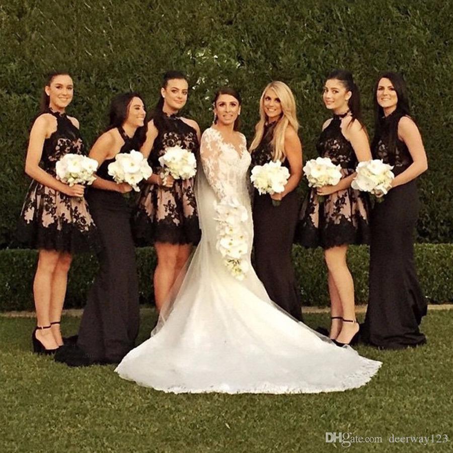 Halter İnci Pembe Aç Geri Halter Boyun Çizgisi Nedime Elbise Siyah Dantel Kanat Aplike Kısa Düğün Parti Elbiseler ile