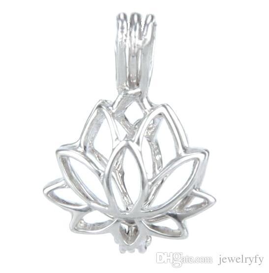 Ciondolo medaglione in argento 925, ciondolo a forma di loto perla ciondolo gabbia, apribile con ciondolo in argento sterling per montaggio di gioielli fai da te