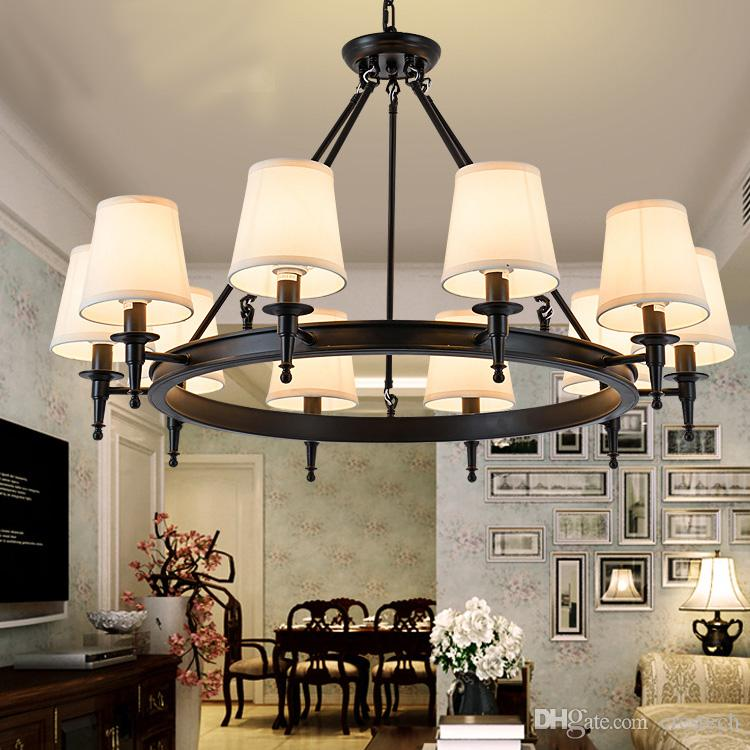 펜던트 라이트 American Country 거실 조명이 램프에 매달려 샹들리에 크리스탈 Simple Iron Dining Room 침실 스터디 룸