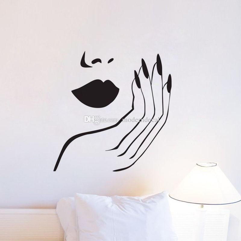 Maniküre Salon Wandtattoos Vinyl DIY Sexy Mädchen Nägel Wandaufkleber Removable Home Decor Wandmalereien