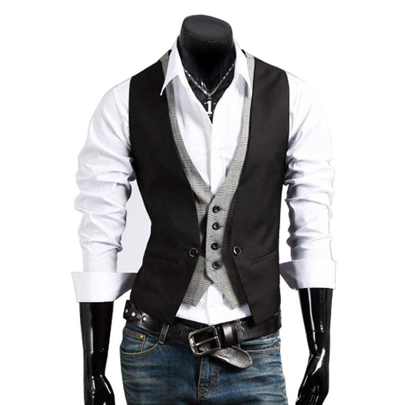 Al por mayor del traje de hombre de moda chalecos para hombre del nuevo de la llegada 2017 Equipada otoño Ocio Chaleco hombres de negocios casual caballero Chaleco Tops # A4662