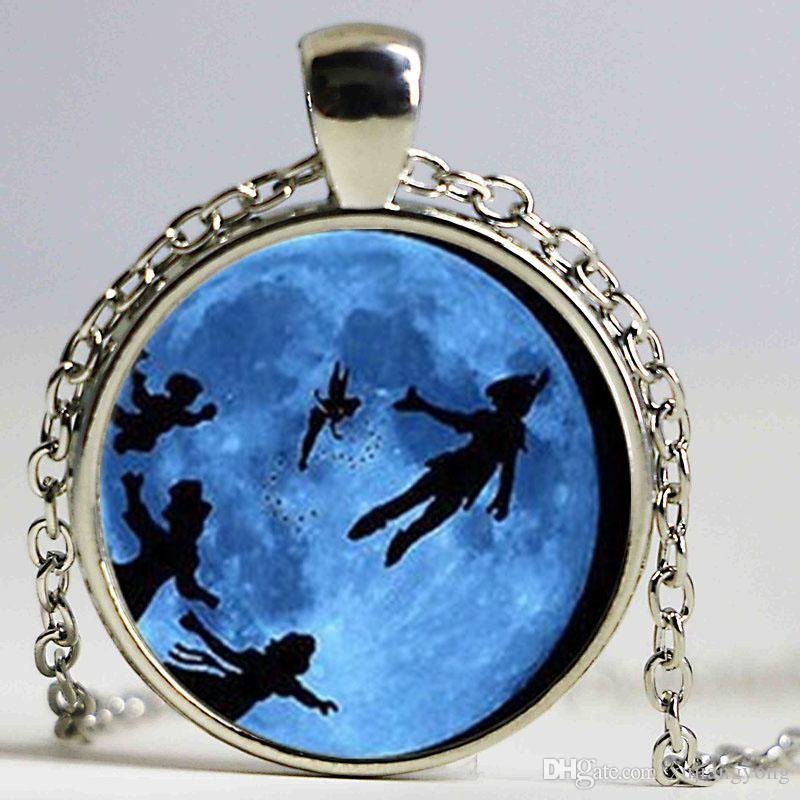 Steampunk Glass Dome Pendant Peter Pan Necklace, Never grow up quote jewelry, glass Cabochon Necklace chain jewelry new