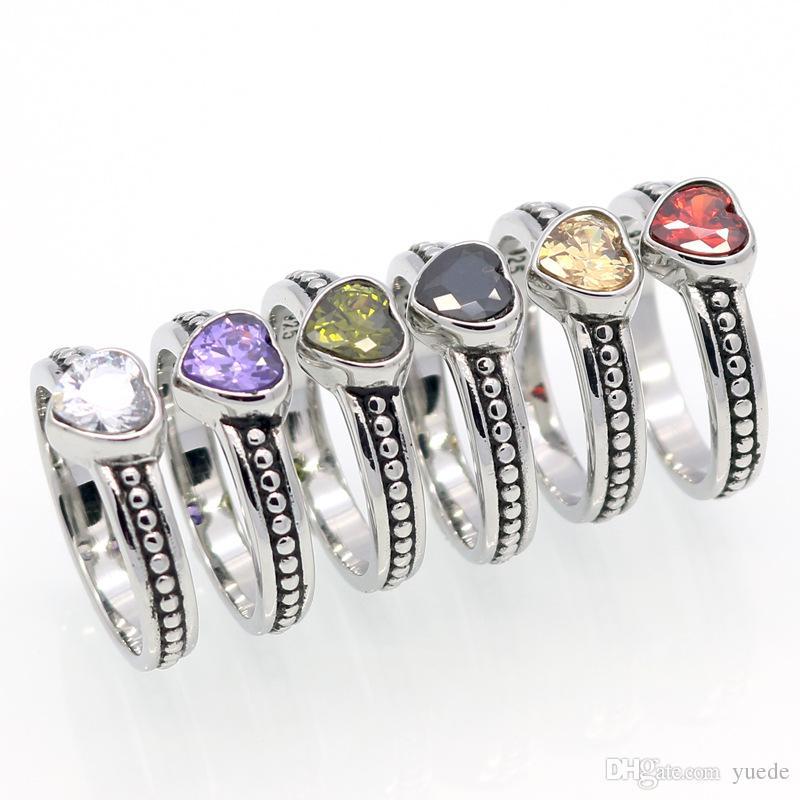 الجملة 6COLOR بيع الرجعية الفولاذ المقاوم للصدأ خواتم للمرأة اسم العلامة التجارية مجوهرات تايلاند خواتم خواتم تناسب باندورا سحر