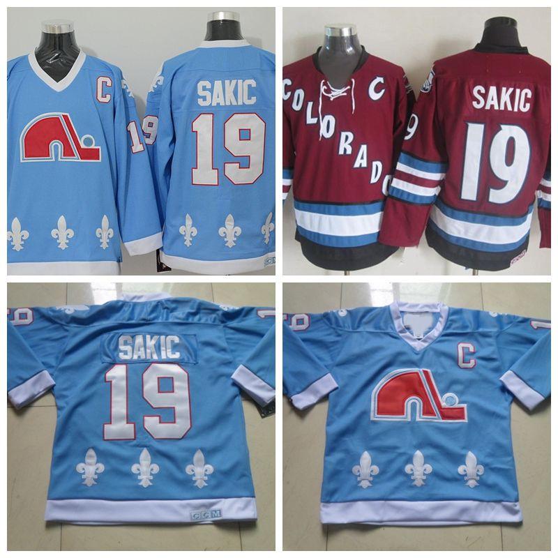 Mens Quebec Nordices Hóquei Jerseys 19 Joe Sakic Bebê Azul Costurado Jersey Colorado Avalanche Vintage CCM Borgonha Camisas C Remendo