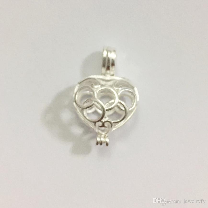 Cage de médaillon en forme de coeur de pêche creuse en argent massif 925, peut contenir des perles de perle, montage pendentif en argent sterling